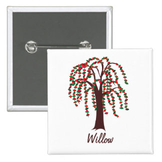 Willow Tree with Hearts - Customizable 2 Inch Square Button