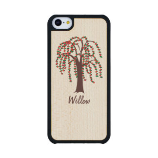 Willow Tree with Hearts - Customizable Carved® Maple iPhone 5C Case