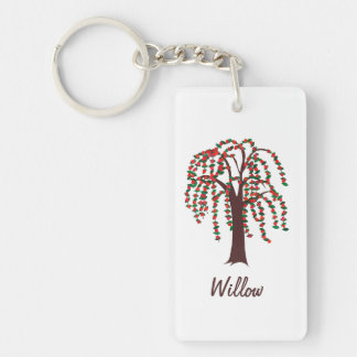 Willow Tree with Hearts - Customizable Double-Sided Rectangular Acrylic Keychain