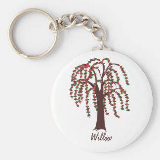 Willow Tree with Hearts - Customizable Basic Round Button Keychain