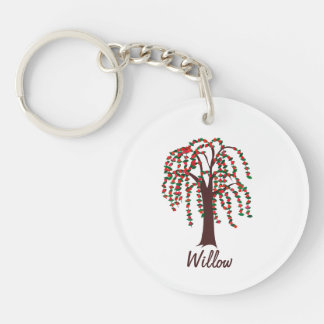 Willow Tree with Hearts - Customizable Double-Sided Round Acrylic Keychain