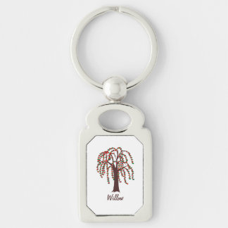 Willow Tree with Hearts - Customizable Silver-Colored Rectangular Metal Keychain