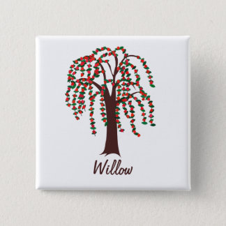 Willow Tree with Hearts - Customizable Pinback Button