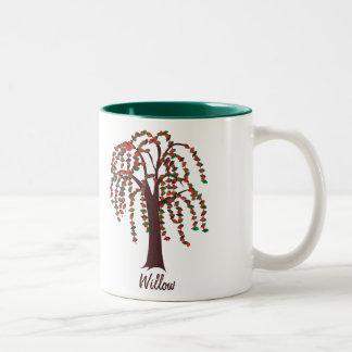Willow Tree with Hearts - Customizable Two-Tone Coffee Mug
