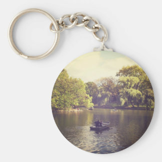 Willow Trees and The Lake, Central Park, NYC Basic Round Button Keychain