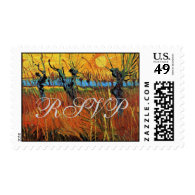 Willows at Sunset by Vincent van Gogh. Postage Stamp