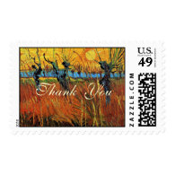 Willows at Sunset by Vincent van Gogh. Postage Stamps
