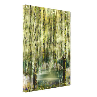 Willows' Tears Pond Digital Dreamscape Canvas Print
