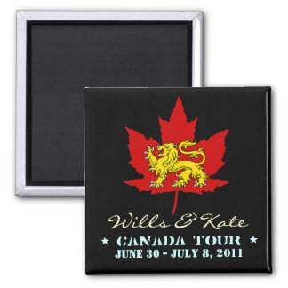 Wills and Kate CANADA Tour Magnet (Black)