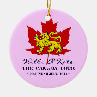 Wills and Kate CANADA Tour Ornament (Pink)