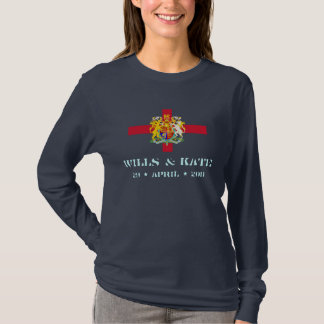 Wills and Kate Flag of England Long Sleeve T-Shirt