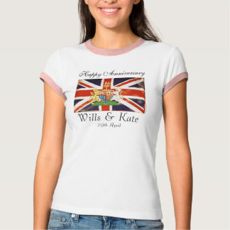 Wills and Kate Happy Anniversary Ringer T-Shirt