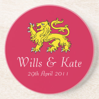 Wills and Kate Lion of London Coaster (Red)