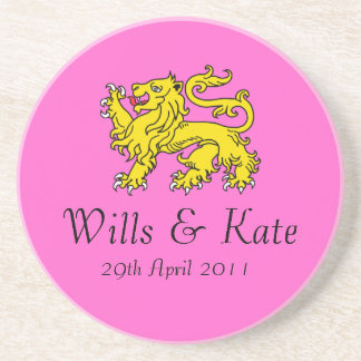 Wills and Kate Royal Wedding Coaster (Pink)