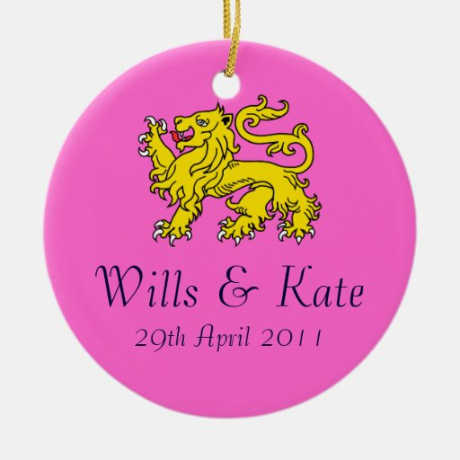 Wills And Kate Royal Wedding Ornament (Pink)