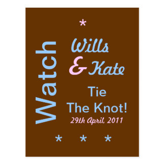 Wills and Kate Tie The Knot Watch Party Postcard