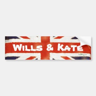 Wills and Kate Vintage Union Jack Bumper Sticker