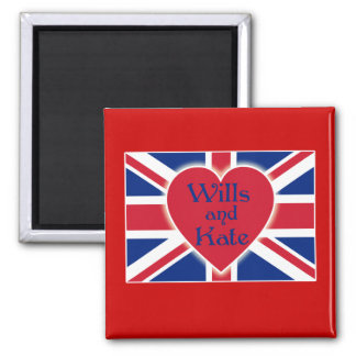 Wills and Kate with Union Jack on Tshirts, Gifts 2 Inch Square Magnet