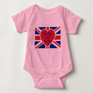 Wills and Kate with Union Jack on Tshirts, Gifts Baby Bodysuit