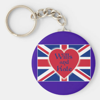 Wills and Kate with Union Jack on Tshirts, Gifts Basic Round Button Keychain