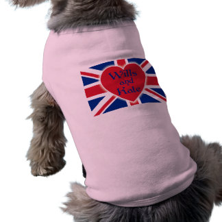 Wills and Kate with Union Jack on Tshirts, Gifts Doggie Tshirt