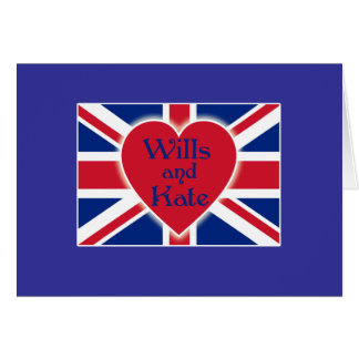 Wills and Kate with Union Jack on Tshirts, Gifts Greeting Card