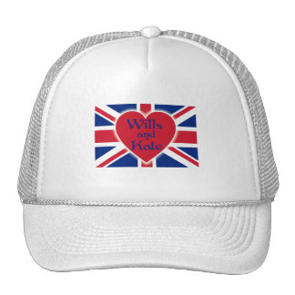 Wills and Kate with Union Jack on Tshirts, Gifts Mesh Hats