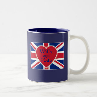 Wills and Kate with Union Jack on Tshirts, Gifts Two-Tone Coffee Mug