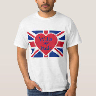 Wills and Kate with Union Jack on Tshirts, Gifts Tee Shirt