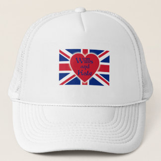 Wills and Kate with Union Jack on Tshirts, Gifts Trucker Hat
