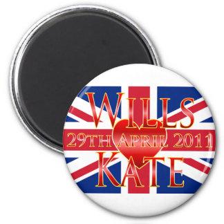 Wills & Kate 2 Inch Round Magnet