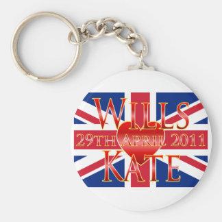 Wills & Kate Basic Round Button Keychain