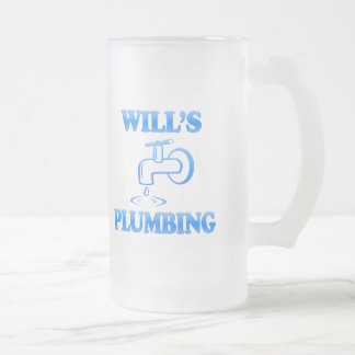 Will's Plumbing Frosted Glass Beer Mug