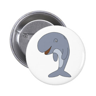 Willy the Whale Cartoon Animal Button