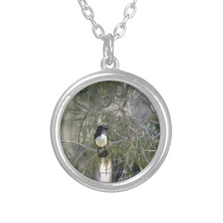 WILLY WAGTAIL RURAL QUEENSLAND AUSTRALIA ROUND PENDANT NECKLACE