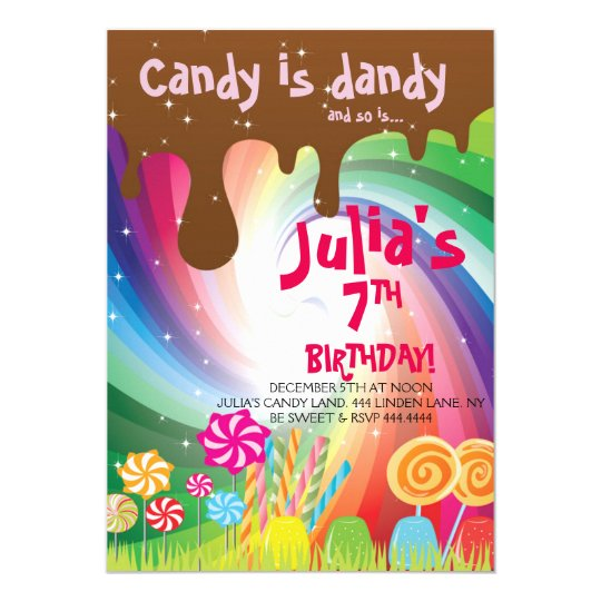 Willy Wonka Candyland Birthday Party Invitations