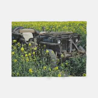 Willys MB Jeep In Rapeseed Field Fleece Blanket