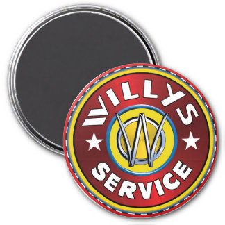 Willys overland jeep service 3 inch round magnet