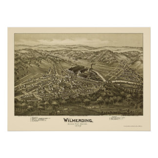 Wilmerding, mapa panorámico del PA - 1897 Póster
