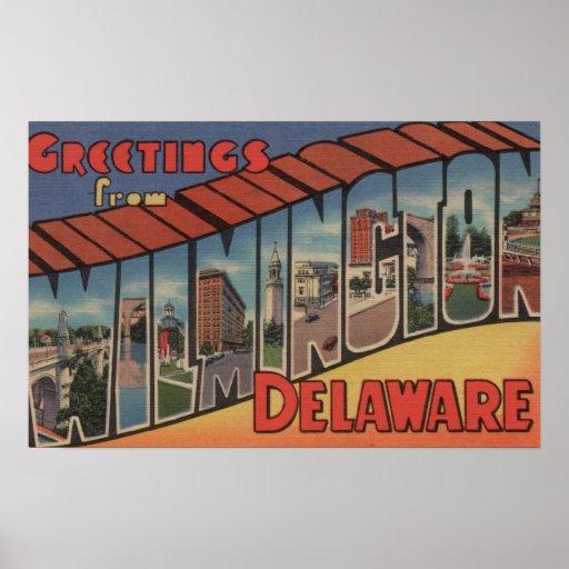 Wilmington, Delaware - Large Letter Scenes Poster