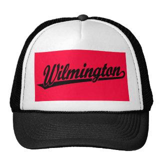 Wilmington script logo in black trucker hat