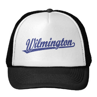 Wilmington script logo in blue distressed trucker hat