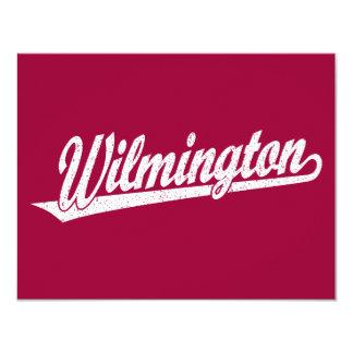 Wilmington script logo in white distressed 4.25x5.5 paper invitation card