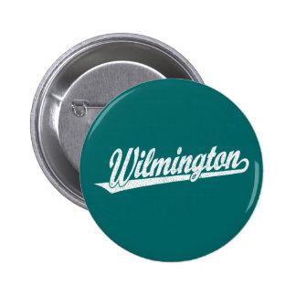 Wilmington script logo in white distressed button