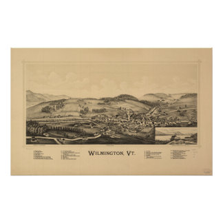 Wilmington Vermont 1891 Antique Panoramic Map Poster