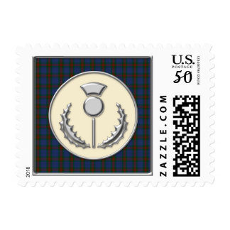 Wilson Family Tartan with Silver Thistle Emblem Postage