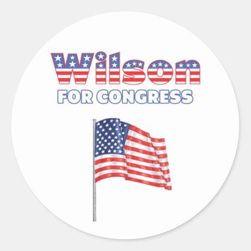 Wilson for Congress Patriotic American Flag Design Classic Round Sticker