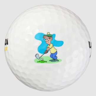 Wilson Golf Balls with  cartoon themed golfer.