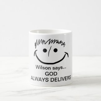 Wilson says Inspirational God Always Delivers Coffee Mug