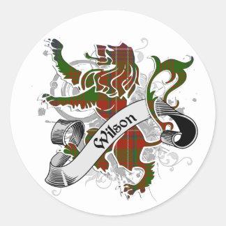 Wilson Tartan Lion Round Stickers